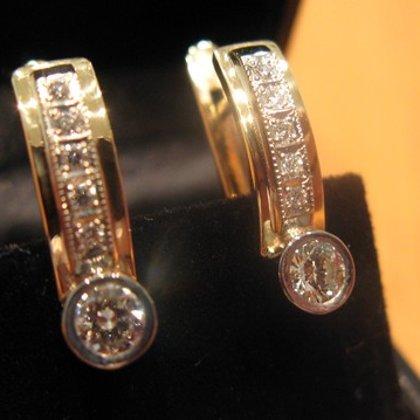 Zelta auskari ar diamantiem
